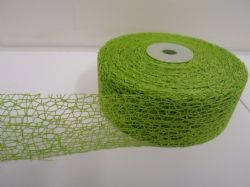 Leaf bright Green 2 metres or Full Roll 38mm Angel Hair Ribbon Mesh Net Netting double sided UK